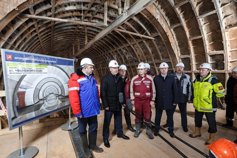 Мэр Москвы Сергей Собянин на строительстве станции метро «Фонвизинская»
